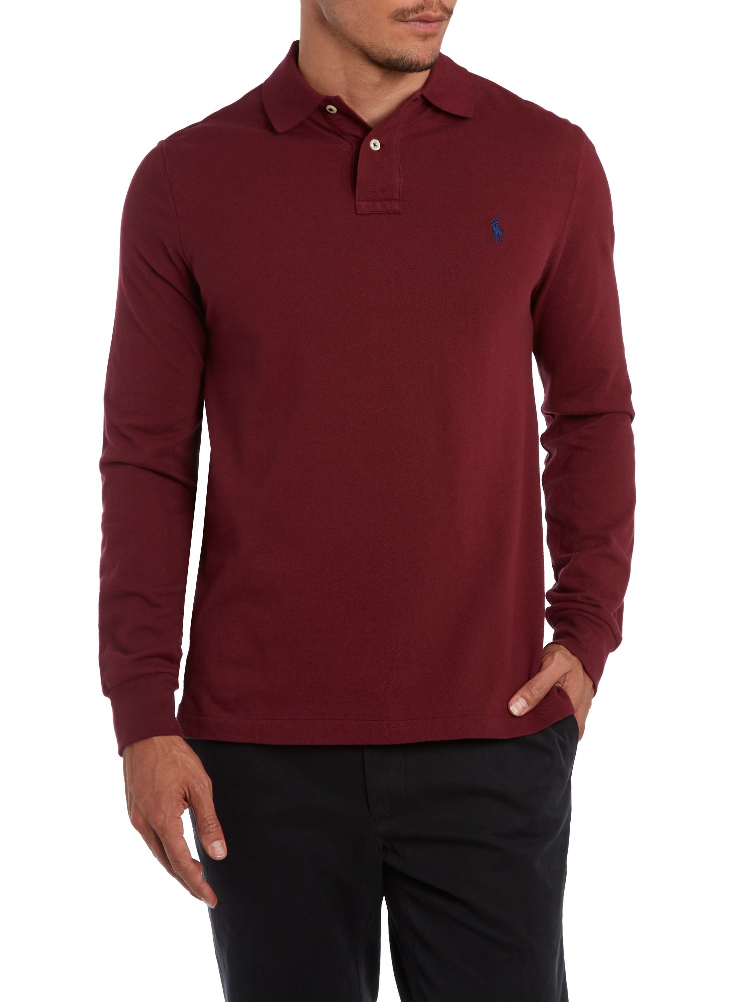 b85cec1a Polo ralph lauren Custom Fit Long Sleeve Mesh Polo Shirt in Brown for Men |  Lyst
