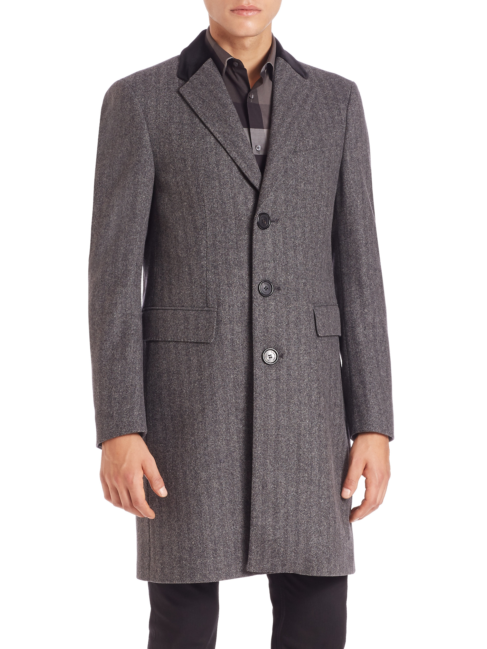 Lyst Burberry Loxton Crombie Wool Cashmere Coat In Gray