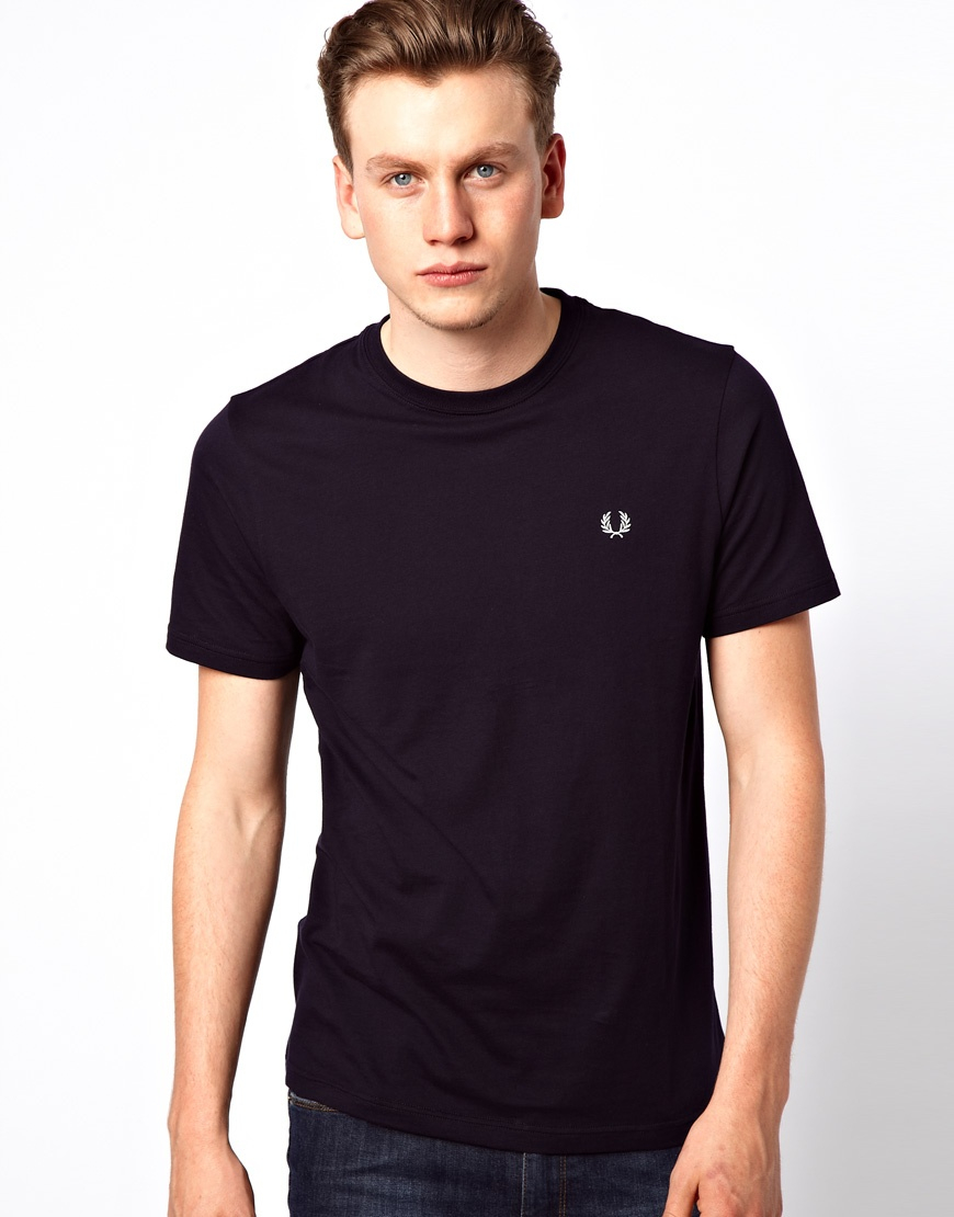 eaea6a994114 Fred Perry Crew Neck Plain T-Shirt in Blue for Men - Lyst