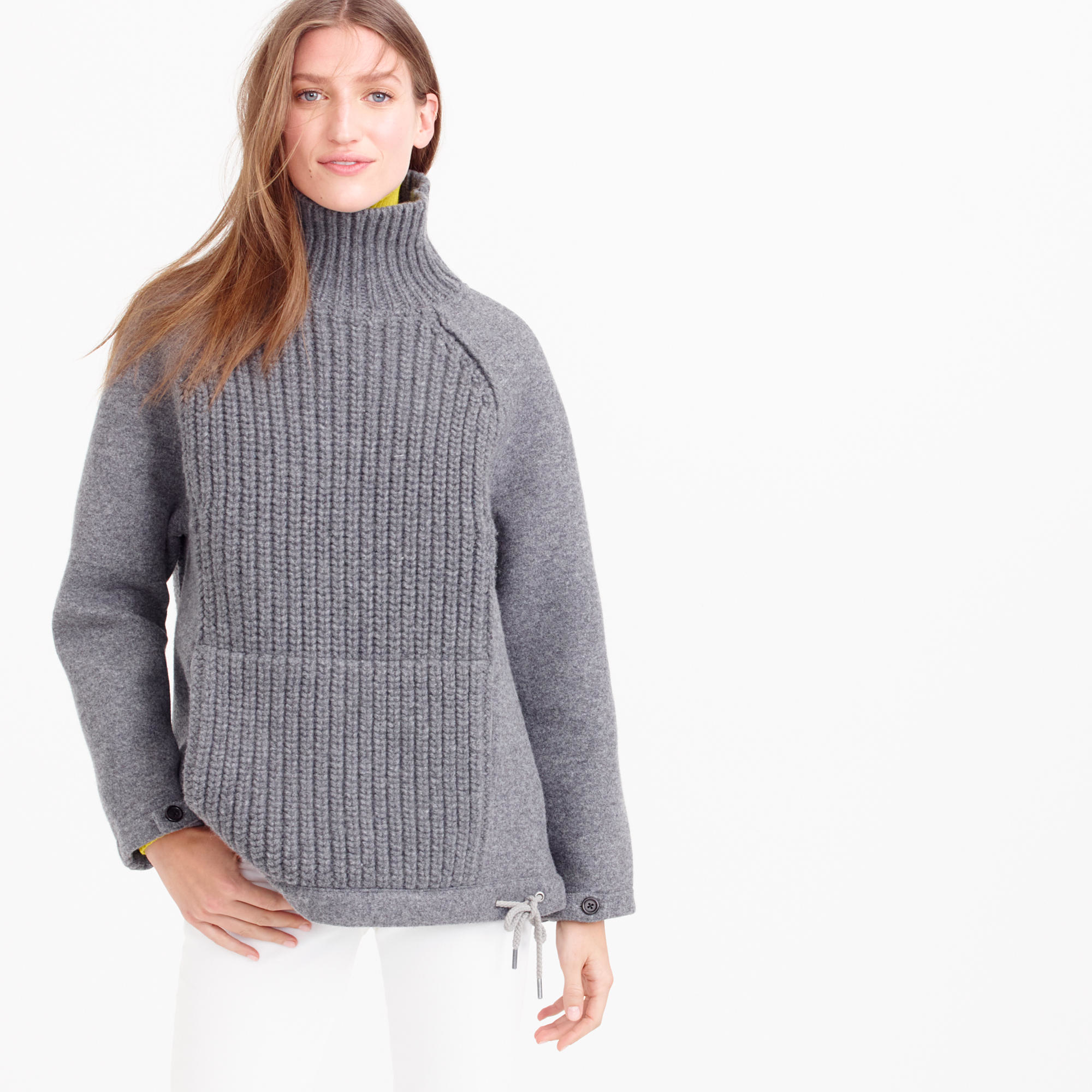 c3a83e6578 Lyst - J.Crew Collection Wool-neoprene Knit Turtleneck Sweater in Gray