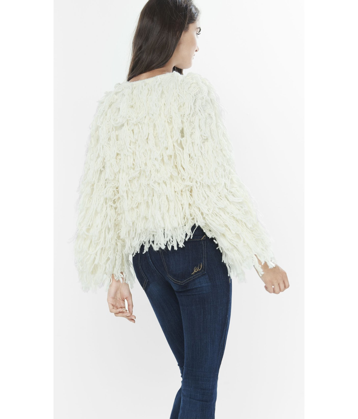4698b73f1cb2 Lyst - Express Shaggy Sweater Jacket in Natural