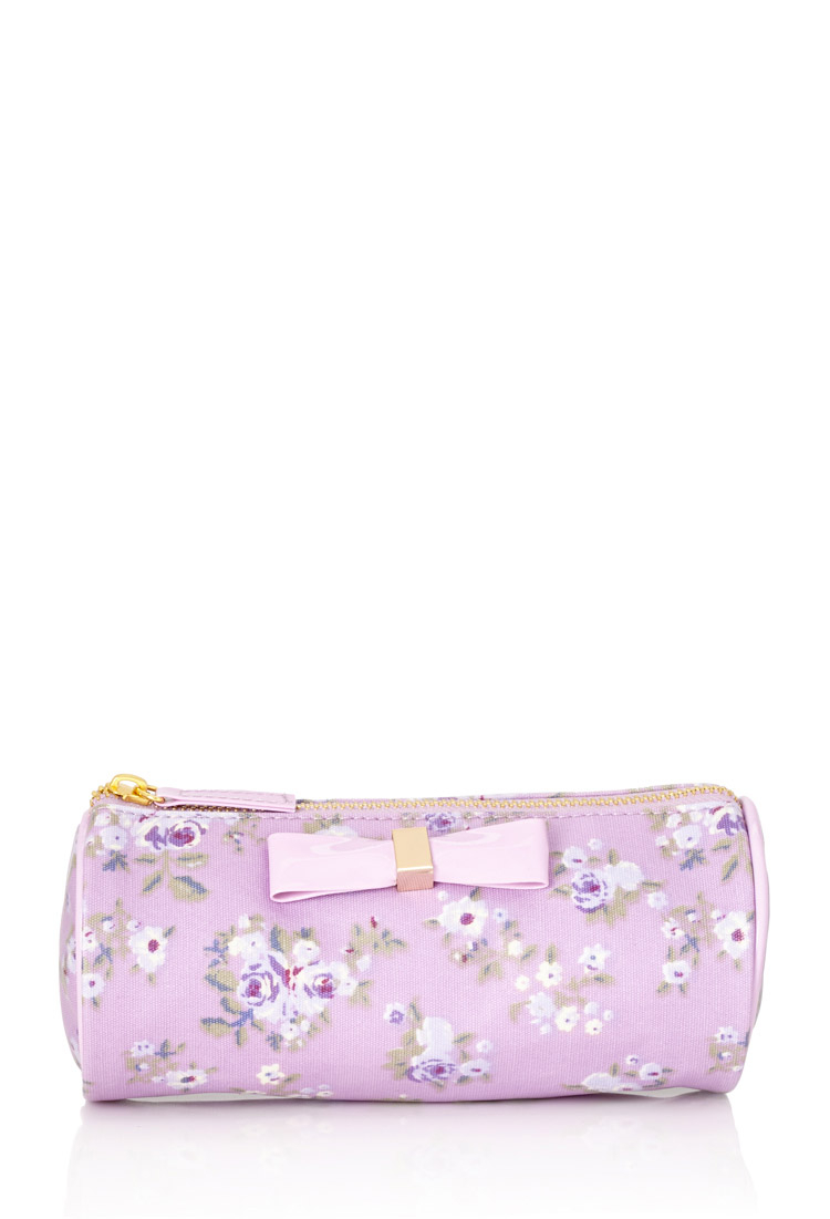 Lyst - Forever 21 Floral Print Cosmetic Bag In Purple