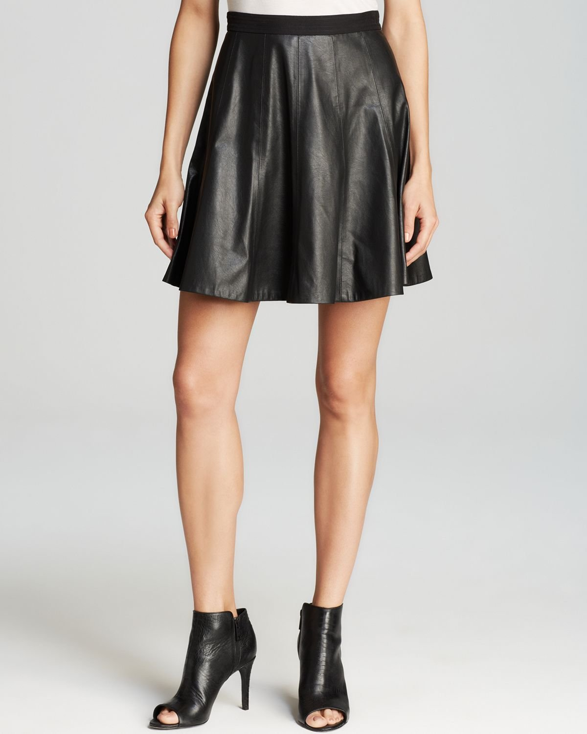 skirt faux leather flounce in black lyst