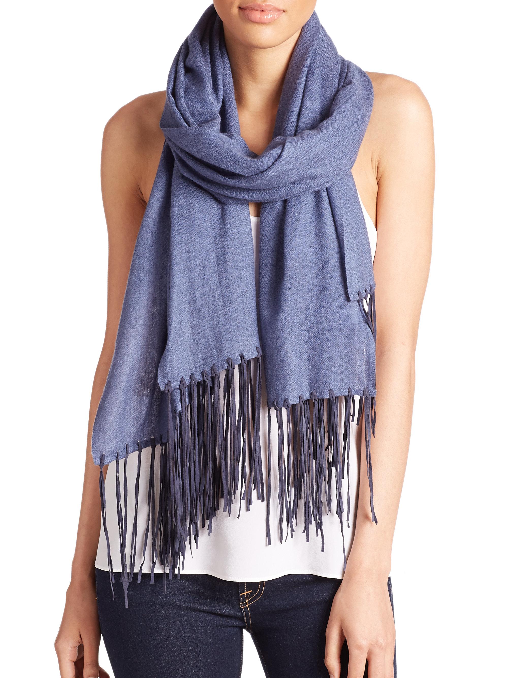 tilo silk blend fringed scarf in blue lyst