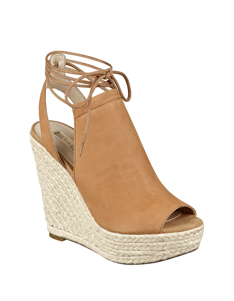 guess orristi espadrille wedge leather sandals in