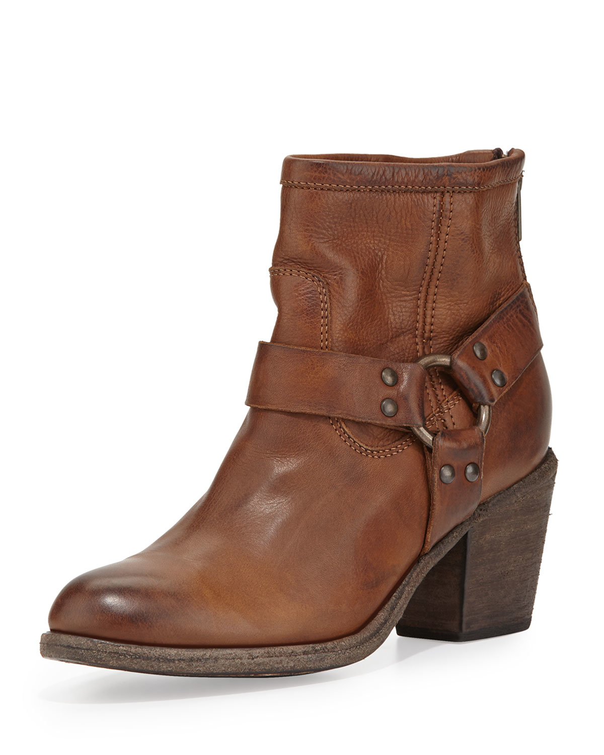 frye tabitha leather harness ankle boot in brown cognac. Black Bedroom Furniture Sets. Home Design Ideas