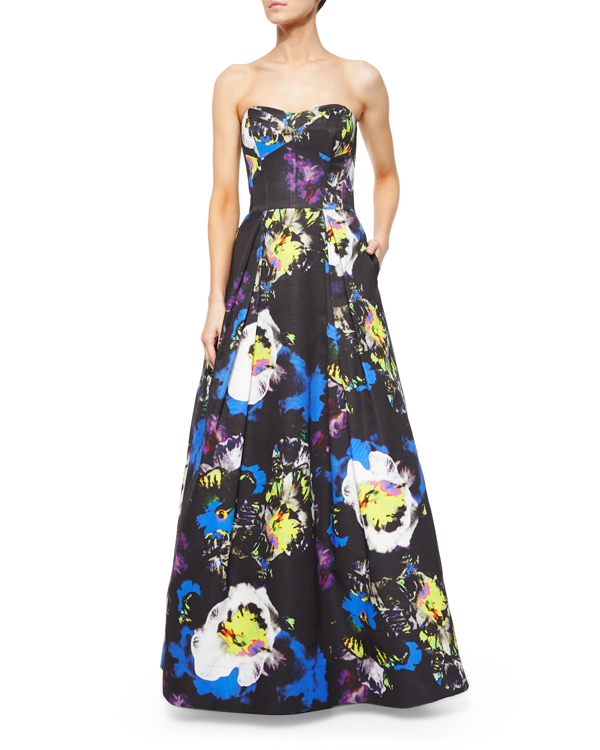 Lyst - Milly Strapless Floral-Print Gown