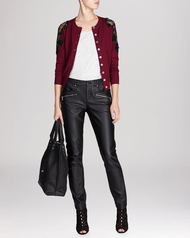 Karen millen Cardigan - Beaded Lace Shoulder Knit in Red | Lyst