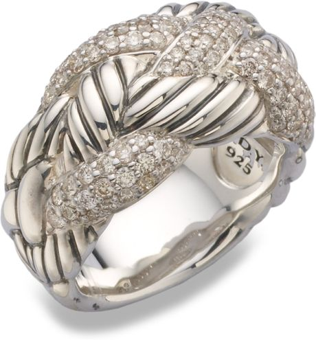 David Yurman Diamond Accented Sterling Silver Woven Ring in Silver