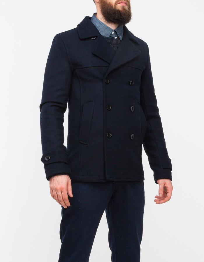 Lyst Topman Navy Blofield Wool Peacoat In Blue For Men