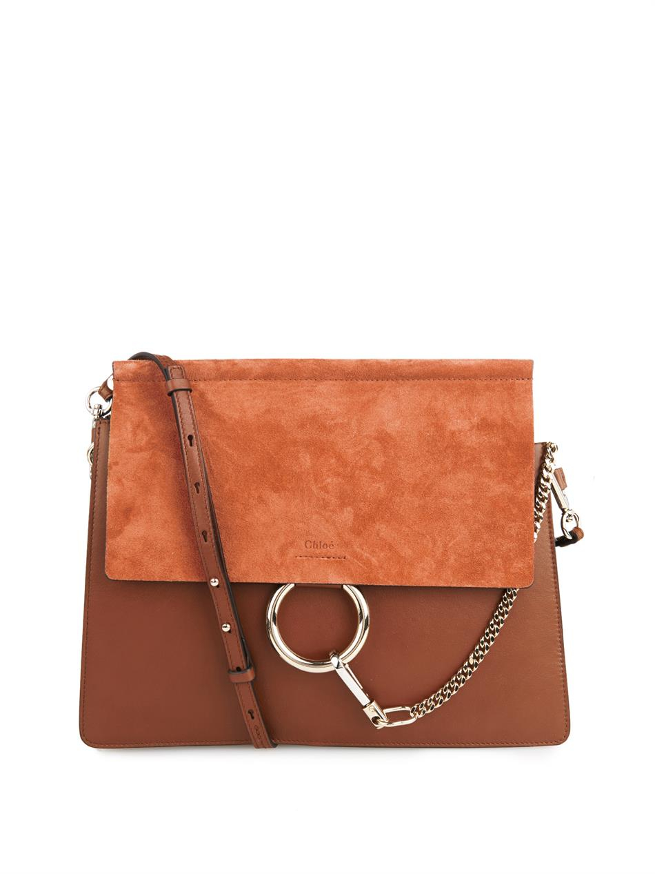 Chloé Faye Suede and Leather Shoulder Bag in Brown | Lyst