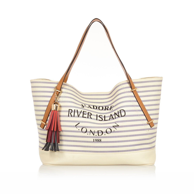 River island Cream Stripe Tassel Beach Bag in Natural | Lyst