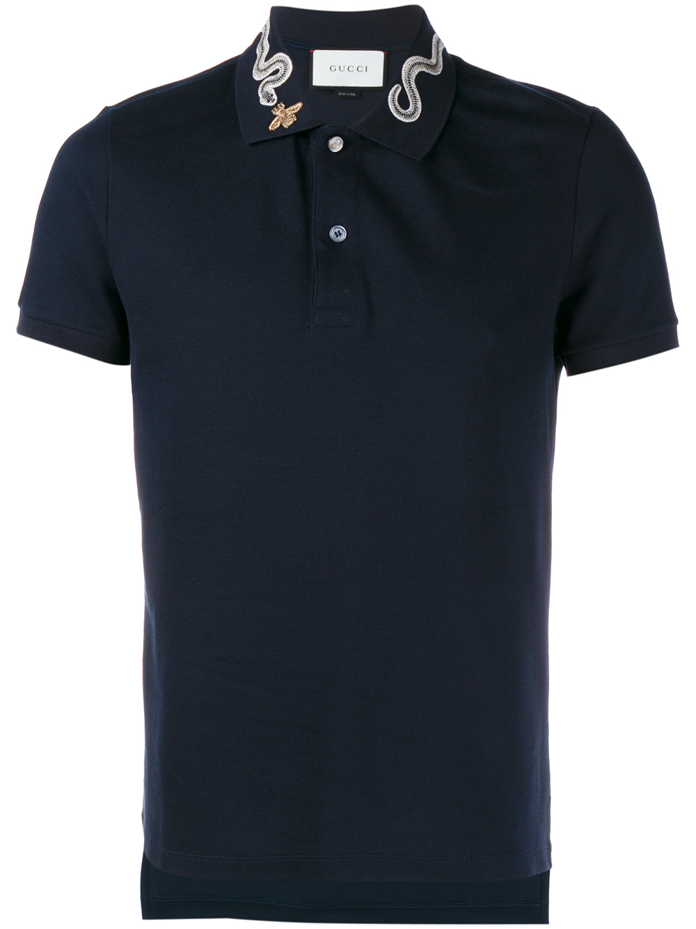 9d8d4361a72a Gucci Snake And Bee Collar Polo Shirt in Blue for Men - Lyst