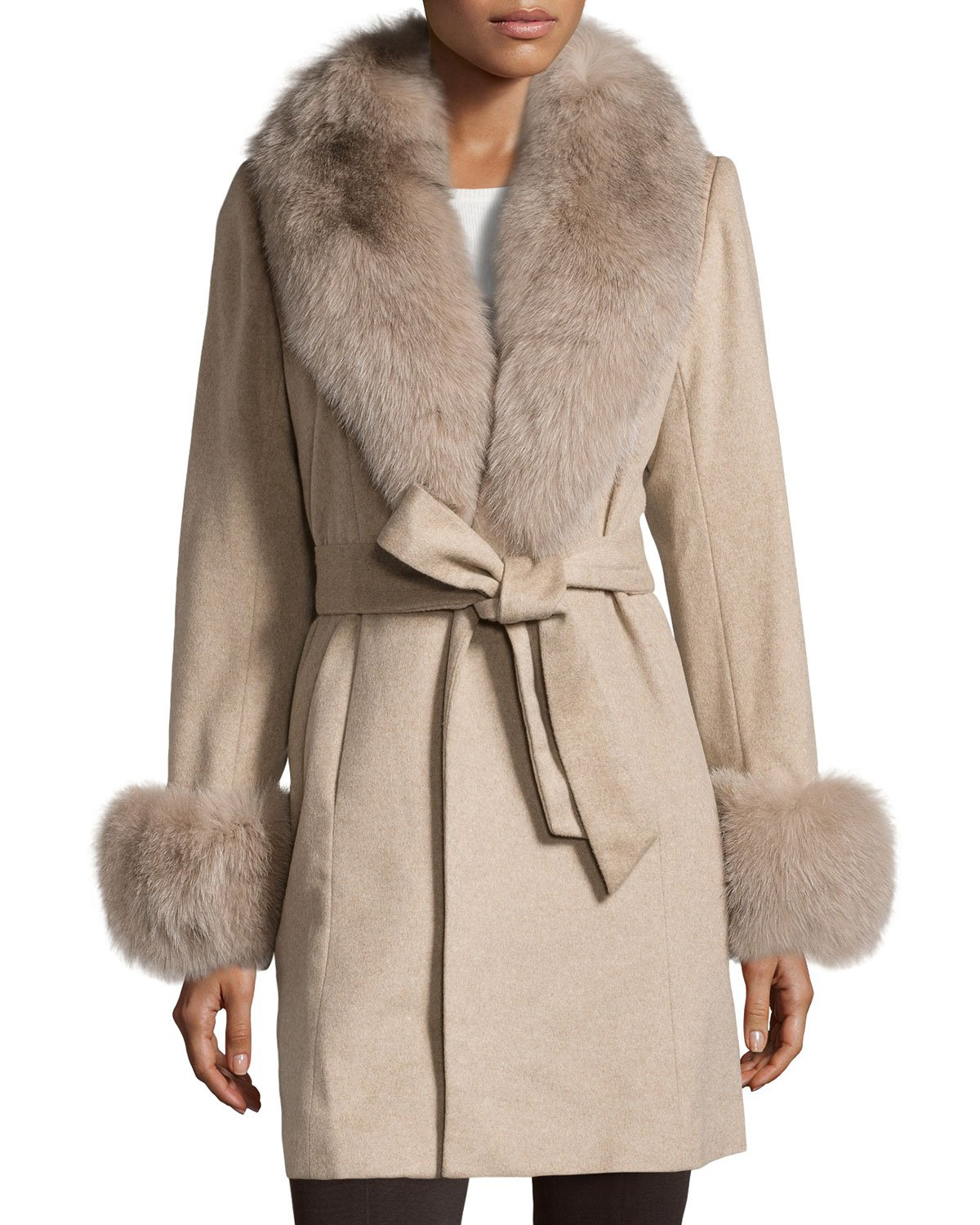 Belle fare Fur-Trimmed Cashmere Wrap Coat in Natural | Lyst
