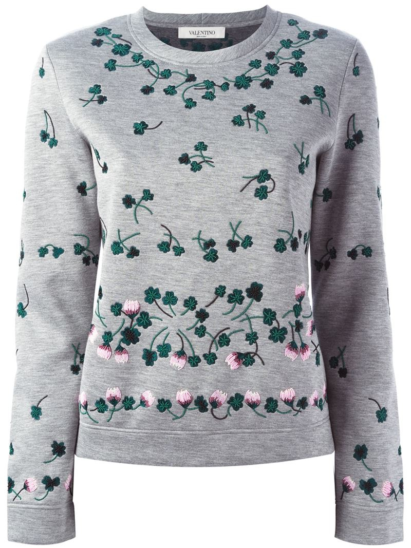 Lyst valentino floral embroidered sweatshirt in gray