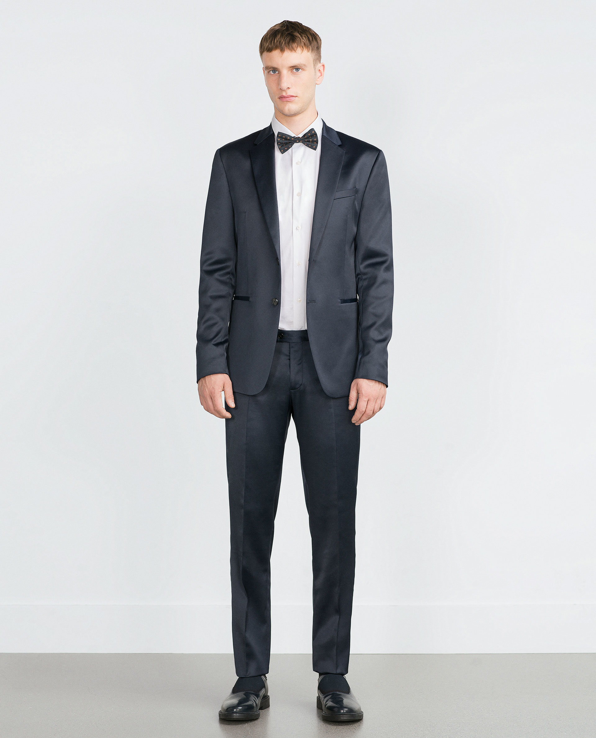 Zara Silk Satin Suit Trousers in Blue for Men | Lyst