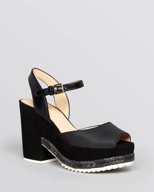 Rupert Sanderson Open Toe Platform Shoes Black Suede