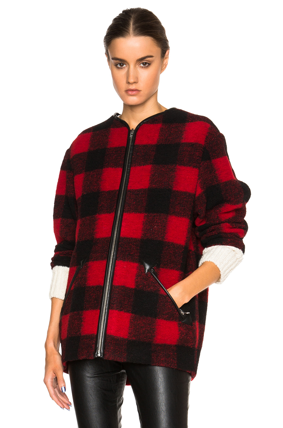 Lyst 201 Toile Isabel Marant Gelicia Check Coat In Red