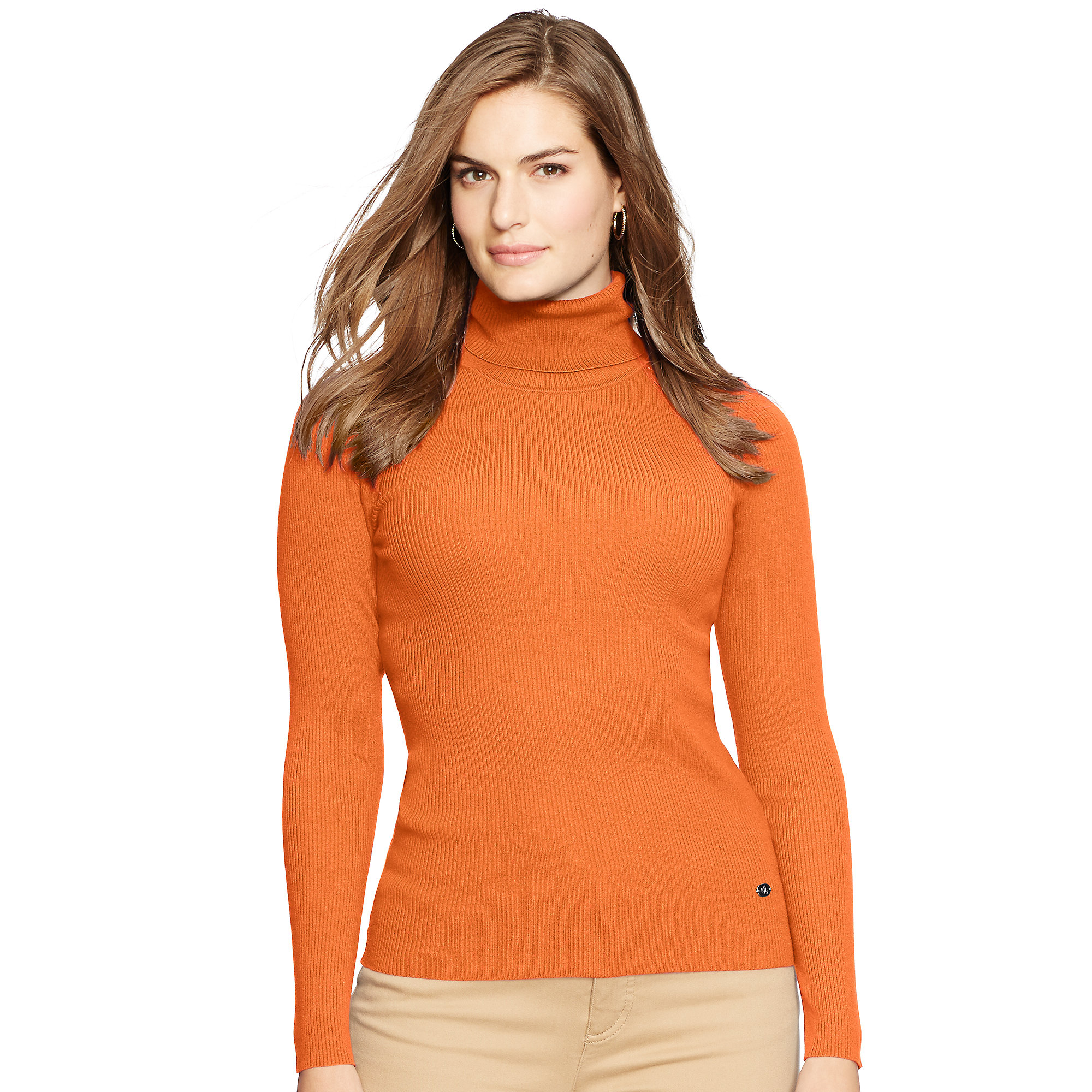 Ralph lauren Ribbed Turtleneck Sweater in Orange | Lyst
