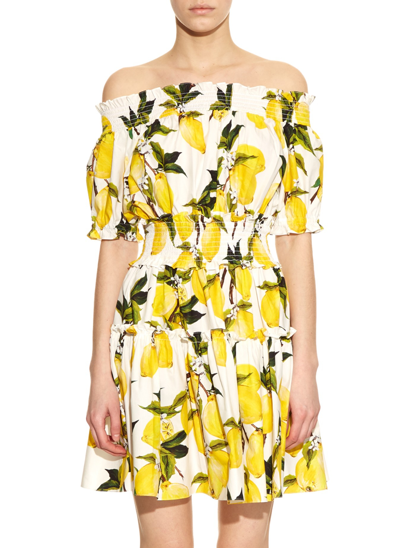 5a84e869 Dolce & Gabbana Printed Off-the-Shoulder Dress in Yellow - Lyst
