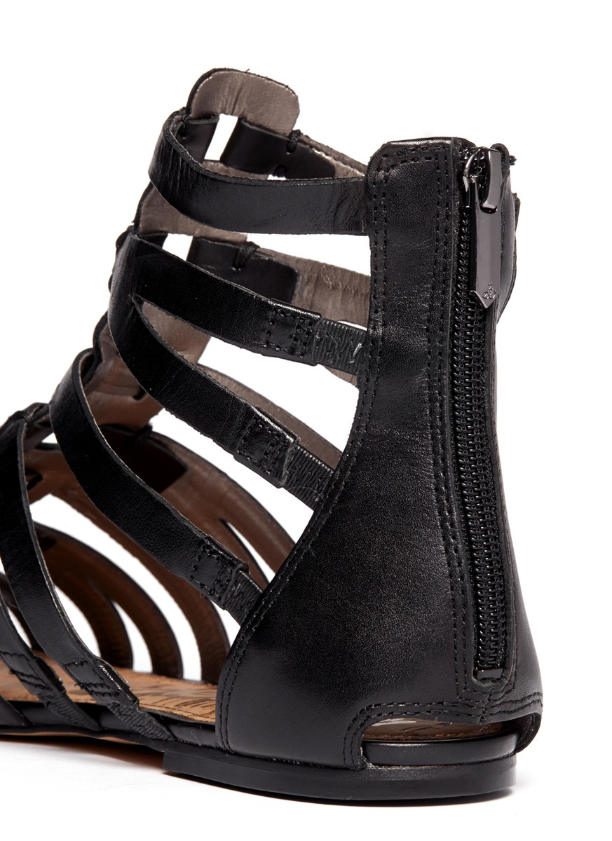 Lyst Sam Edelman Gemma Suede Flat Lace Up Sandal In Black