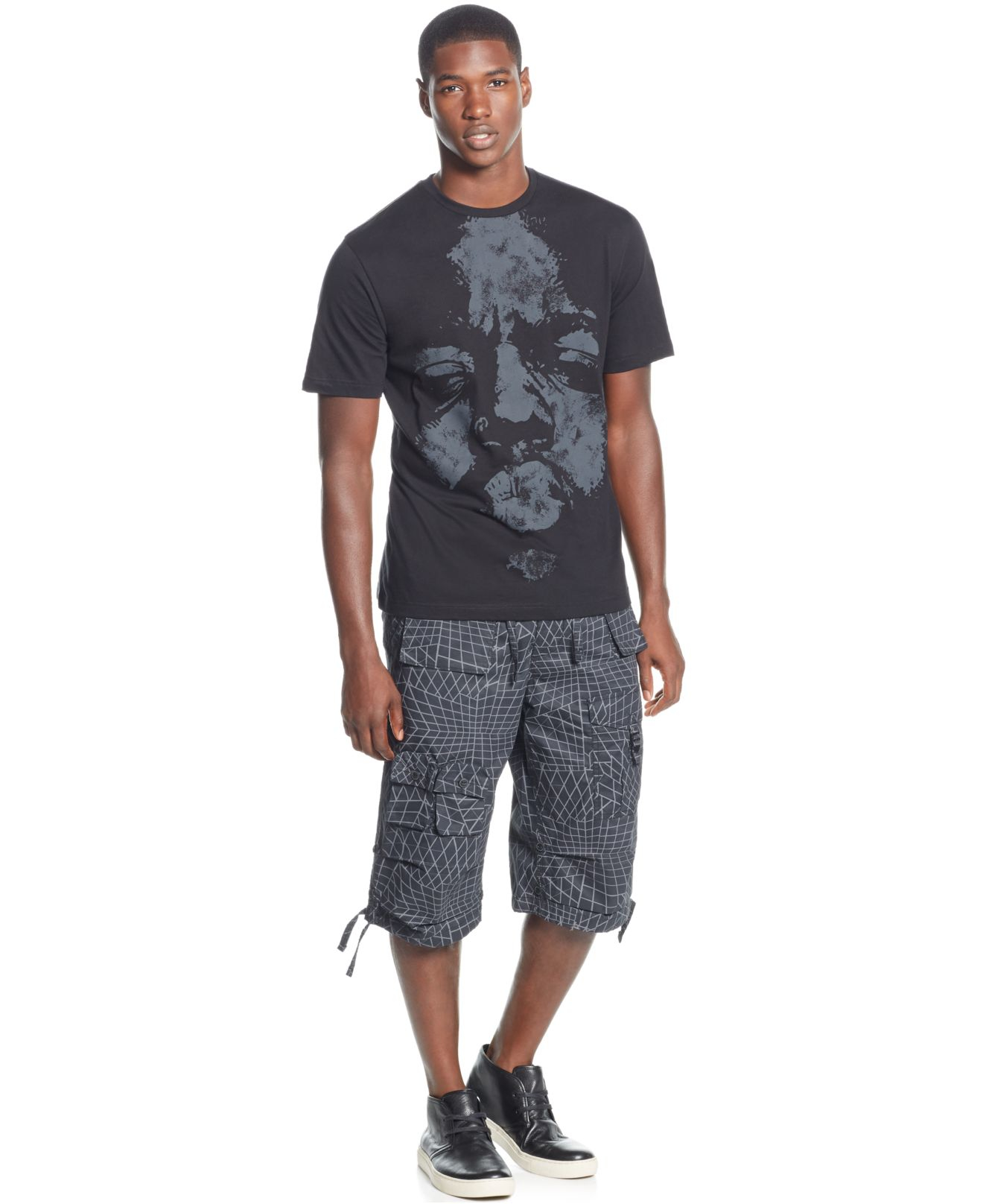 Lyst sean john sean jean be infamous big and tall for Big and tall printed t shirts
