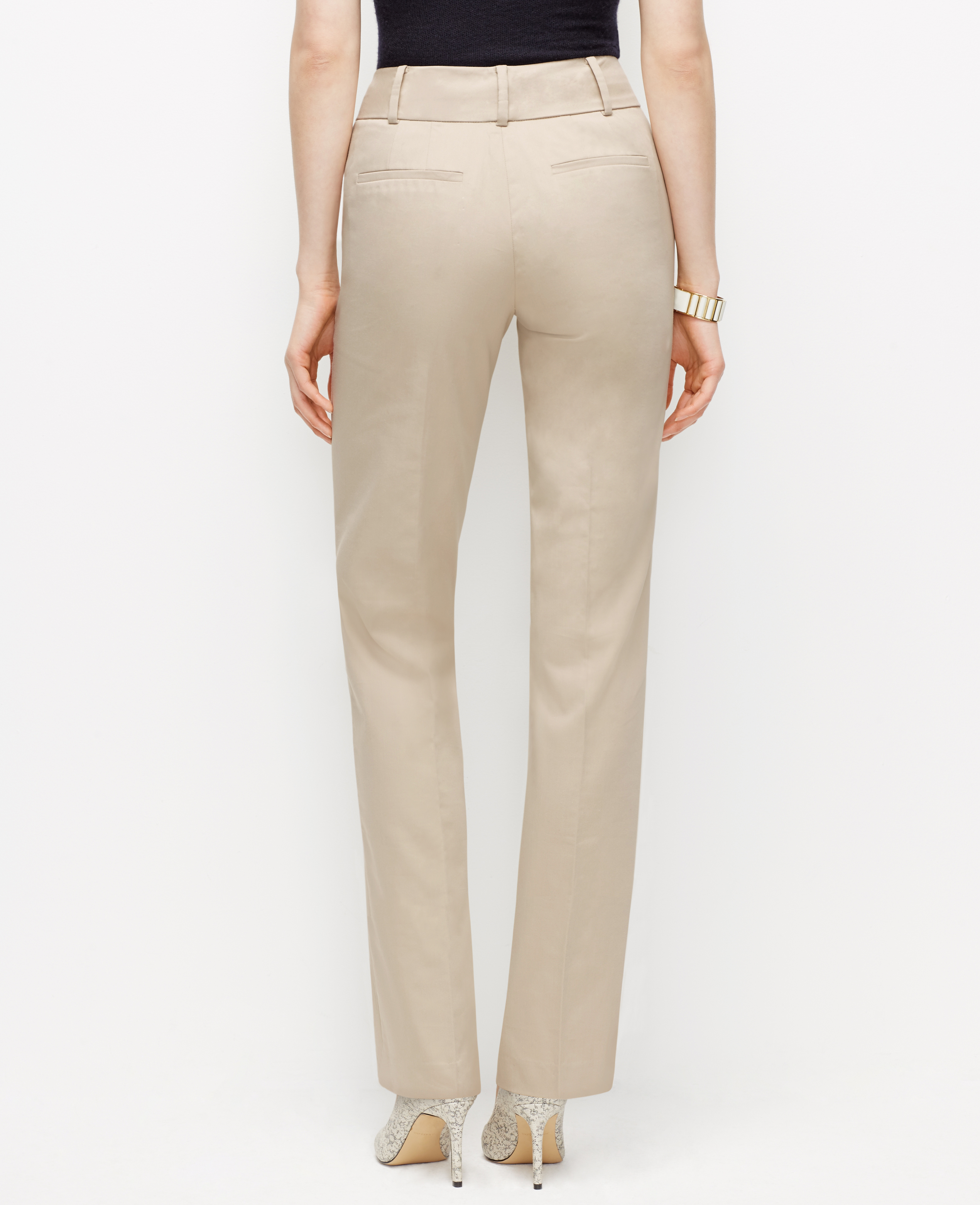 Ann Taylor Kate Cotton Sateen Straight Leg Pants In