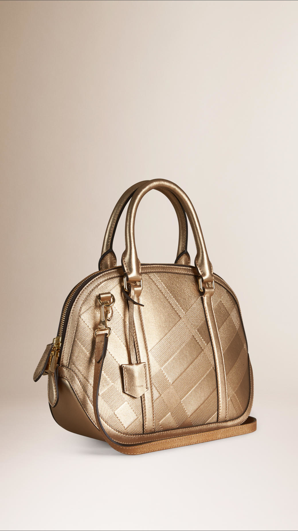 186b8d698f0a Lyst - Burberry The Small Orchard Embossed Check Leather Bag in Metallic
