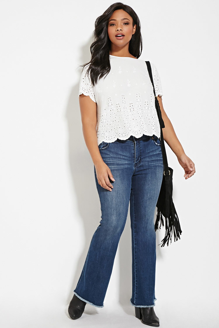 b41fdf28e0f19 Lyst - Forever 21 Plus Size Floral Eyelet Top in White