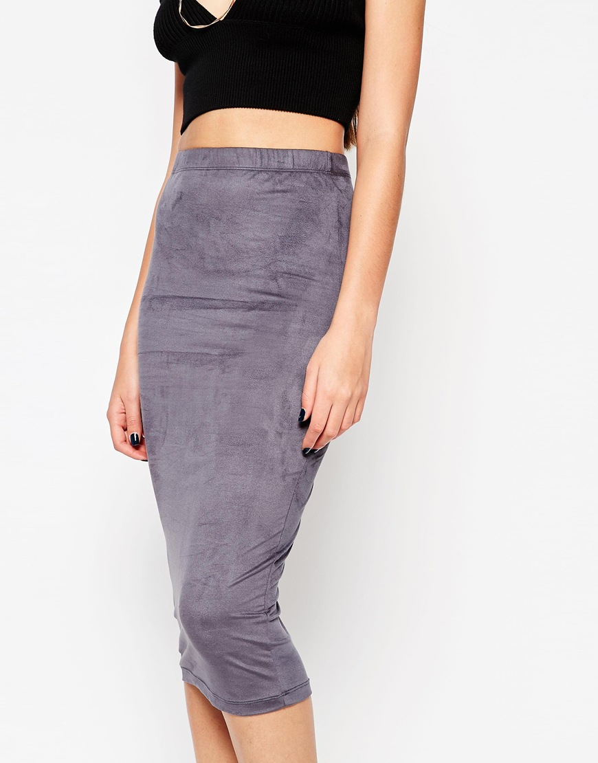asos midi pencil skirt in faux suede in lyst