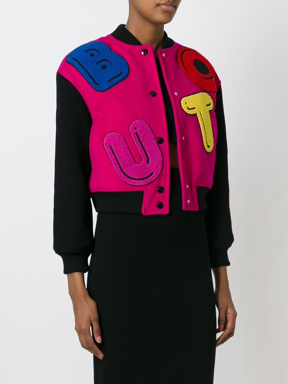 Boutique Moschino Leather Applique Bomber Jacket In Pink
