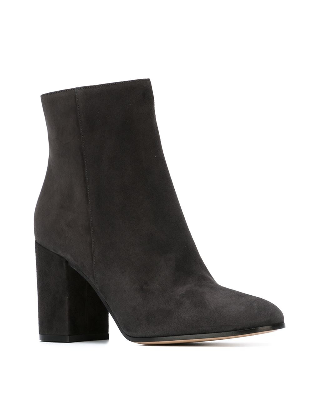 gianvito rossi heeled suede boots in gray grey lyst. Black Bedroom Furniture Sets. Home Design Ideas