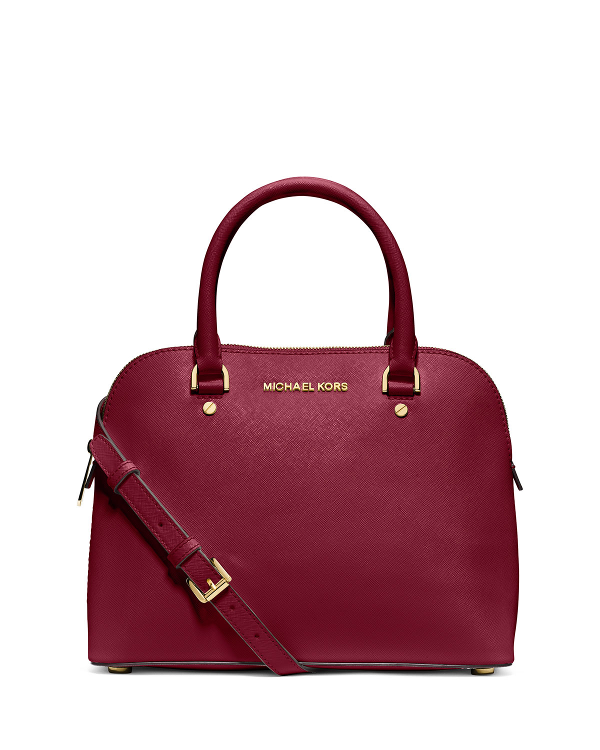 michael michael kors cindy medium dome satchel bag in red lyst. Black Bedroom Furniture Sets. Home Design Ideas