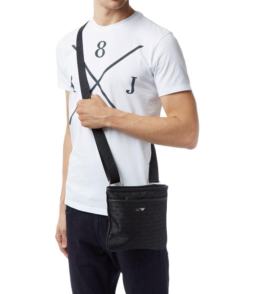 Armani Jeans Logo Print Stash Messenger Bag in Black for Men - Lyst ad36409067dd4