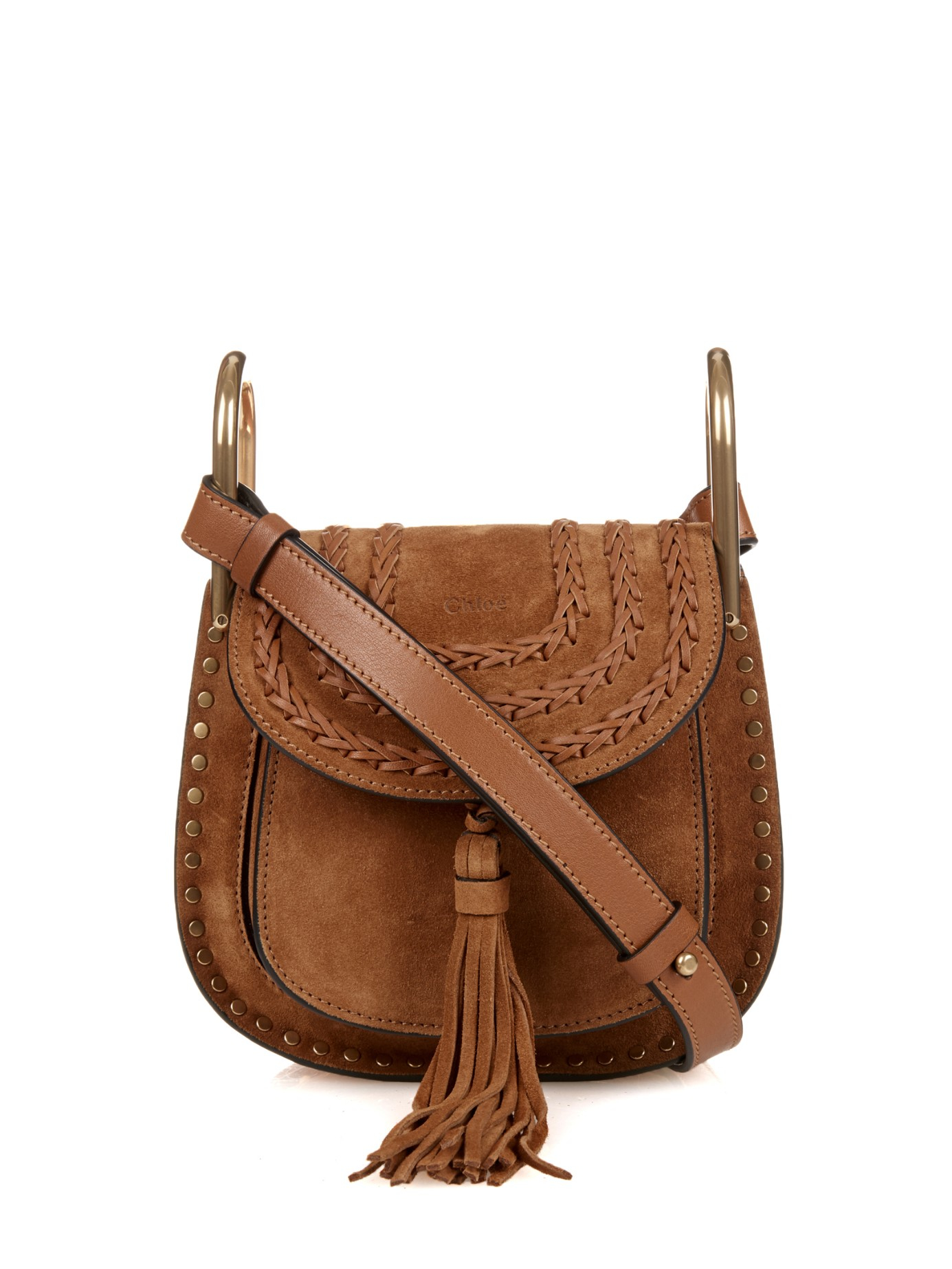 3bf44afed8 Lyst - Chloé Hudson Mini Suede Cross-Body Bag in Brown