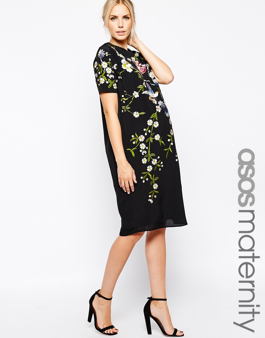 ac9471b394e0e ASOS Shift Dress With Bird And Floral Embroidery in Black - Lyst
