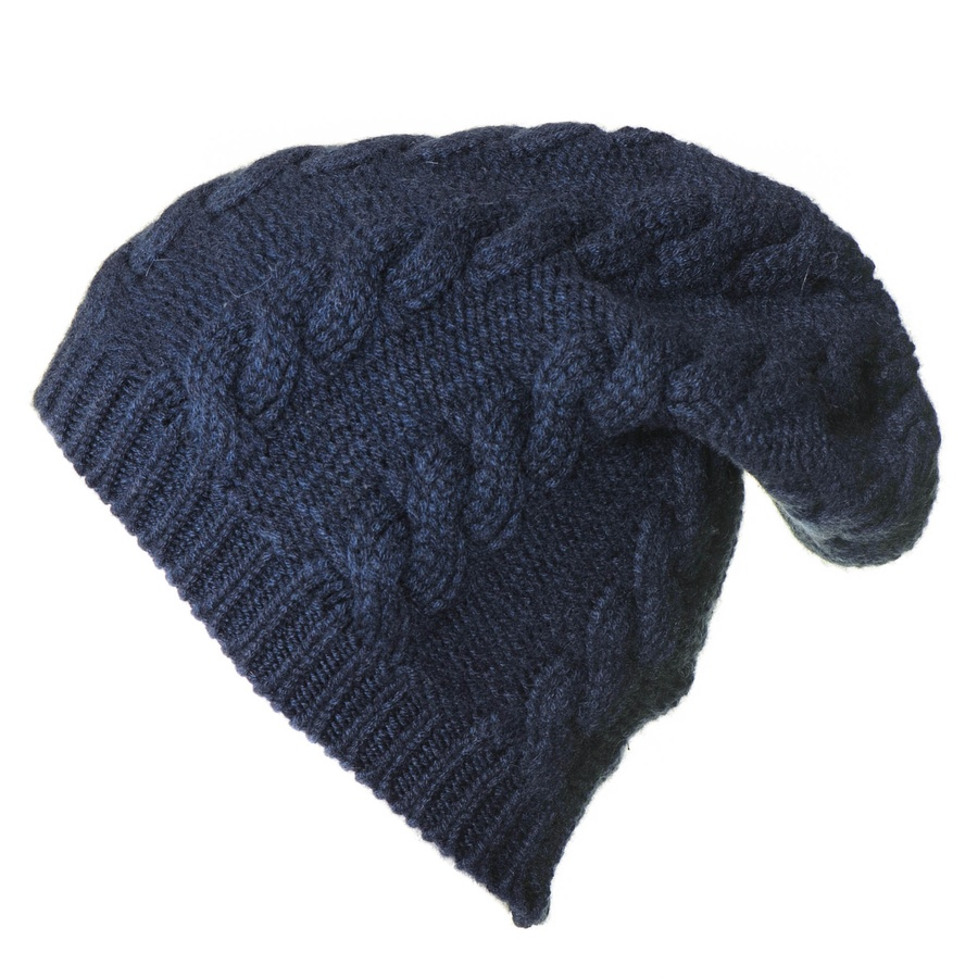 Knitting Pattern For Cashmere Beanie : Black.co.uk Navy Cable Knit Cashmere Slouch Beanie in Blue ...