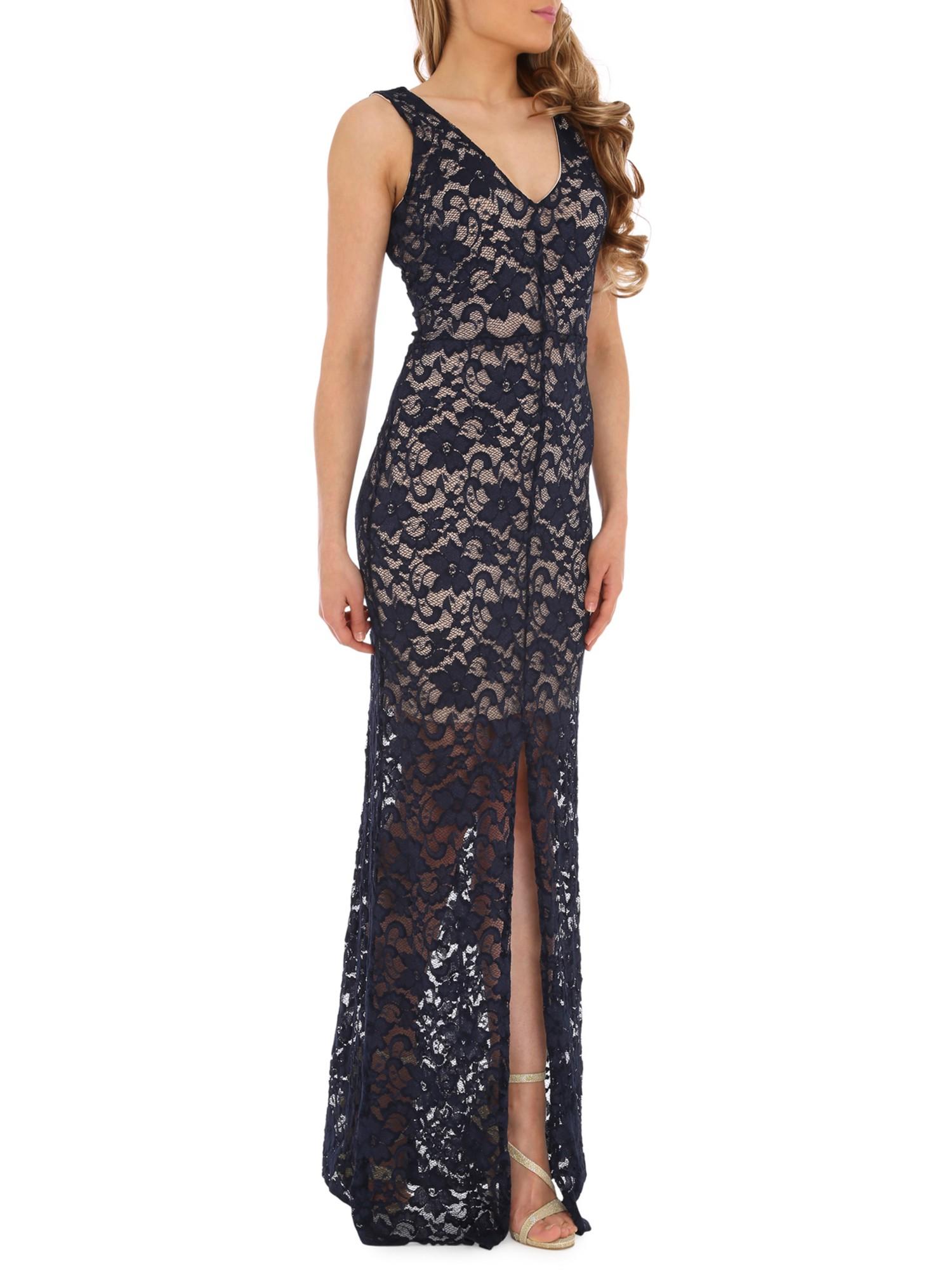 Belle By Badgley Mischka Lace Maxi Dress in Blue - Lyst