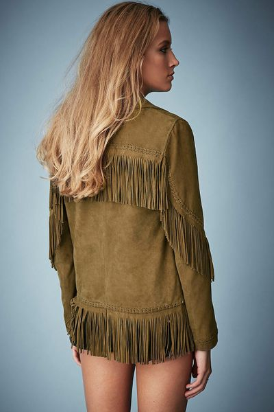 Topshop Fringed Suede Jacket By Kate Moss For In Green Olive Lyst