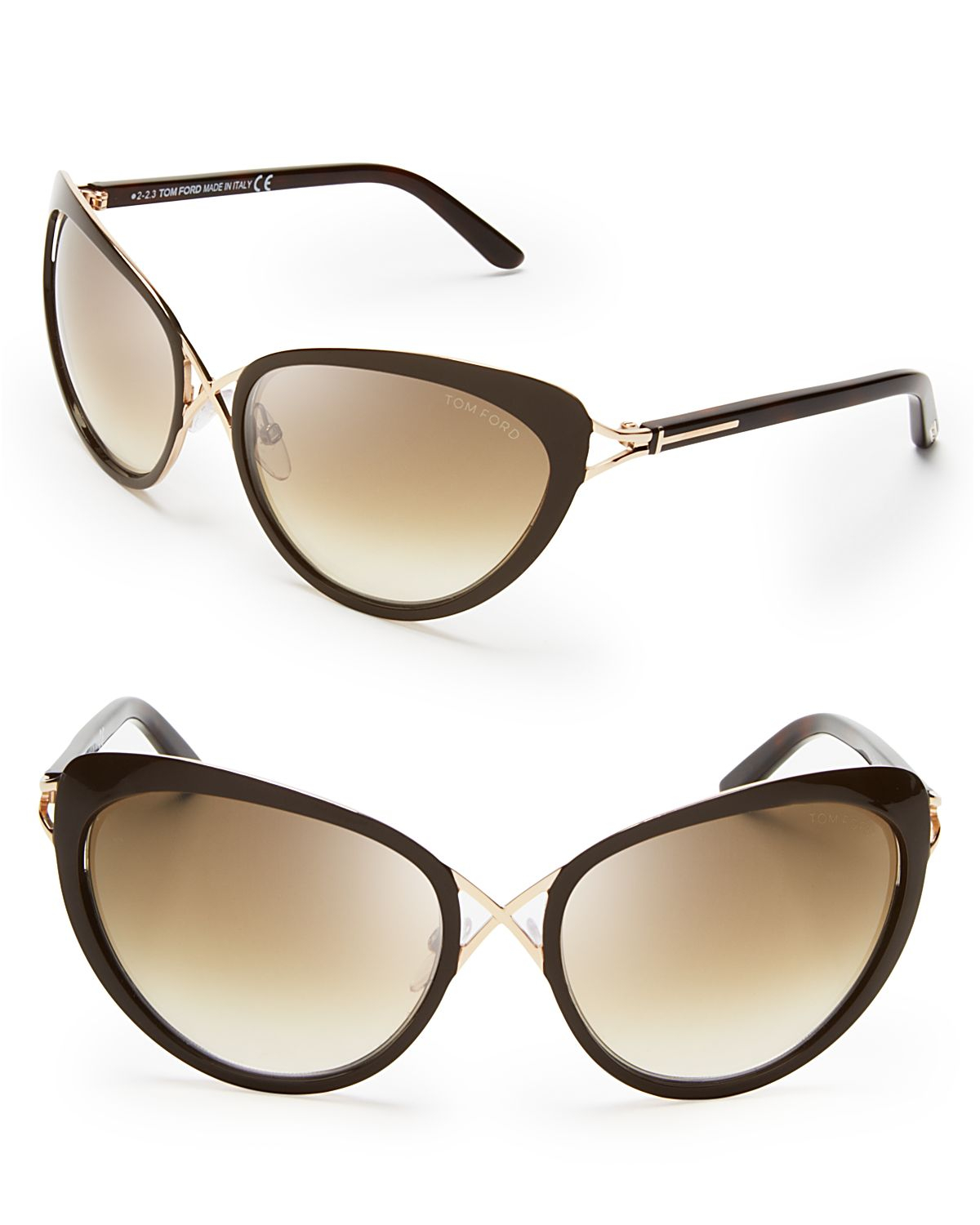 tom ford daria cat eye sunglasses in brown dark brown lyst. Cars Review. Best American Auto & Cars Review