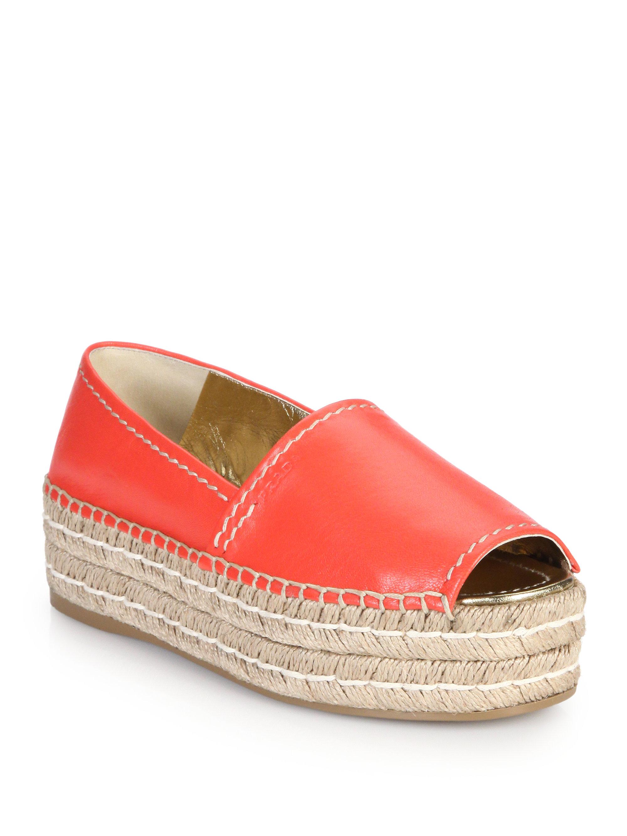 red prada bag - Prada Open-toe Leather Platform Espadrilles in Red | Lyst
