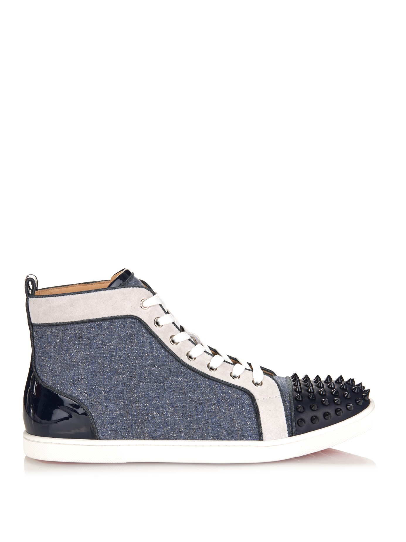 Christian Louboutin Spike Suede High Top Sneakers Louis Vuitton