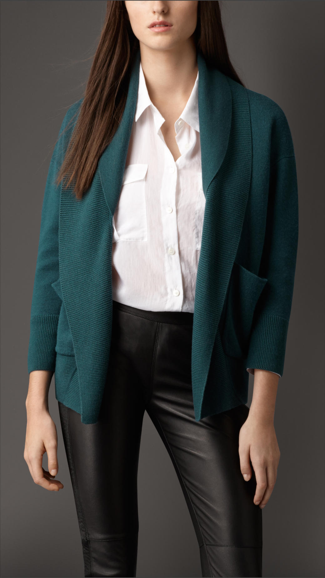 Burberry Shawl Collar Silk Cashmere Cardigan in Blue | Lyst