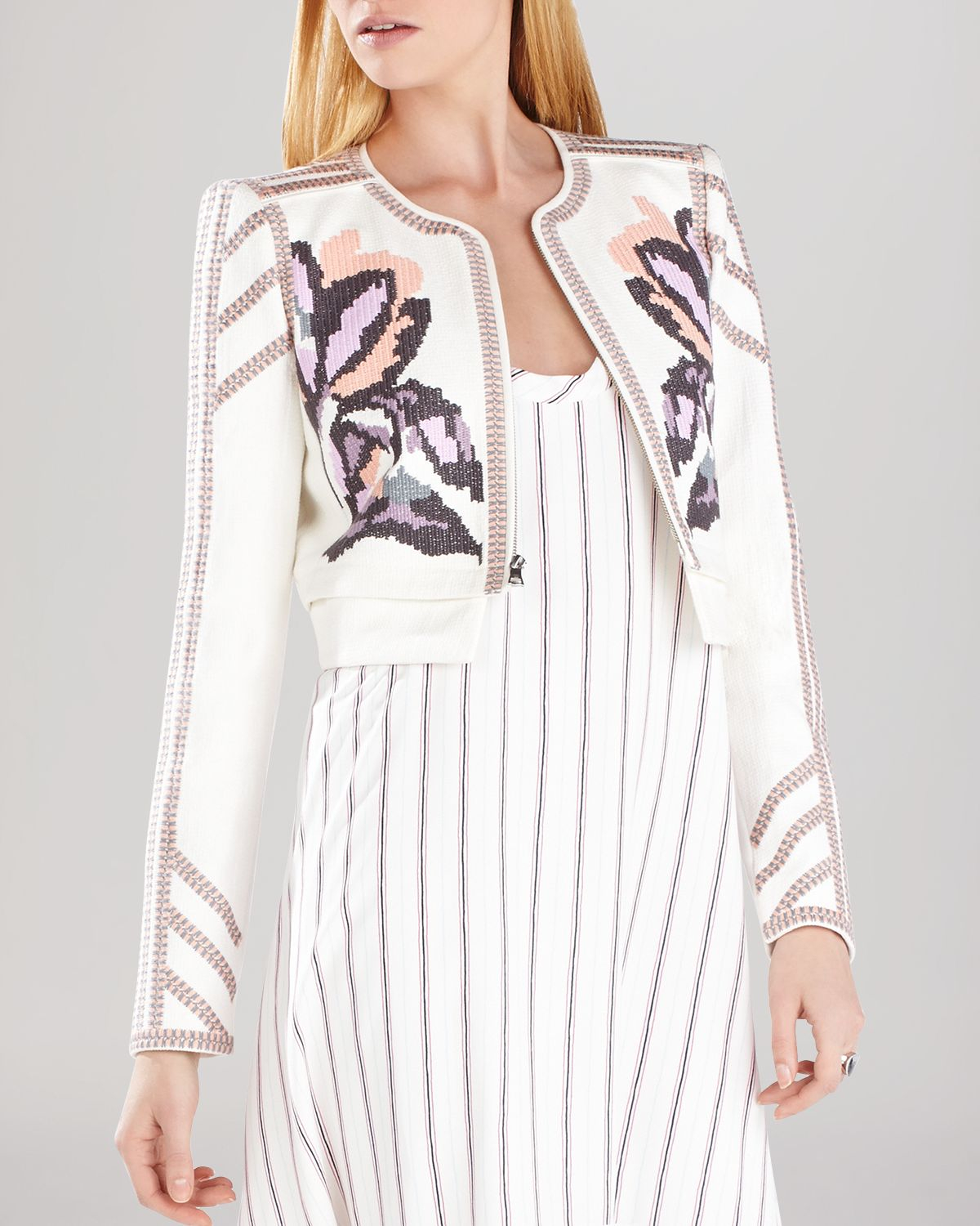 3b00a447c4 BCBGMAXAZRIA Duke Embroidered Jacket in White - Lyst