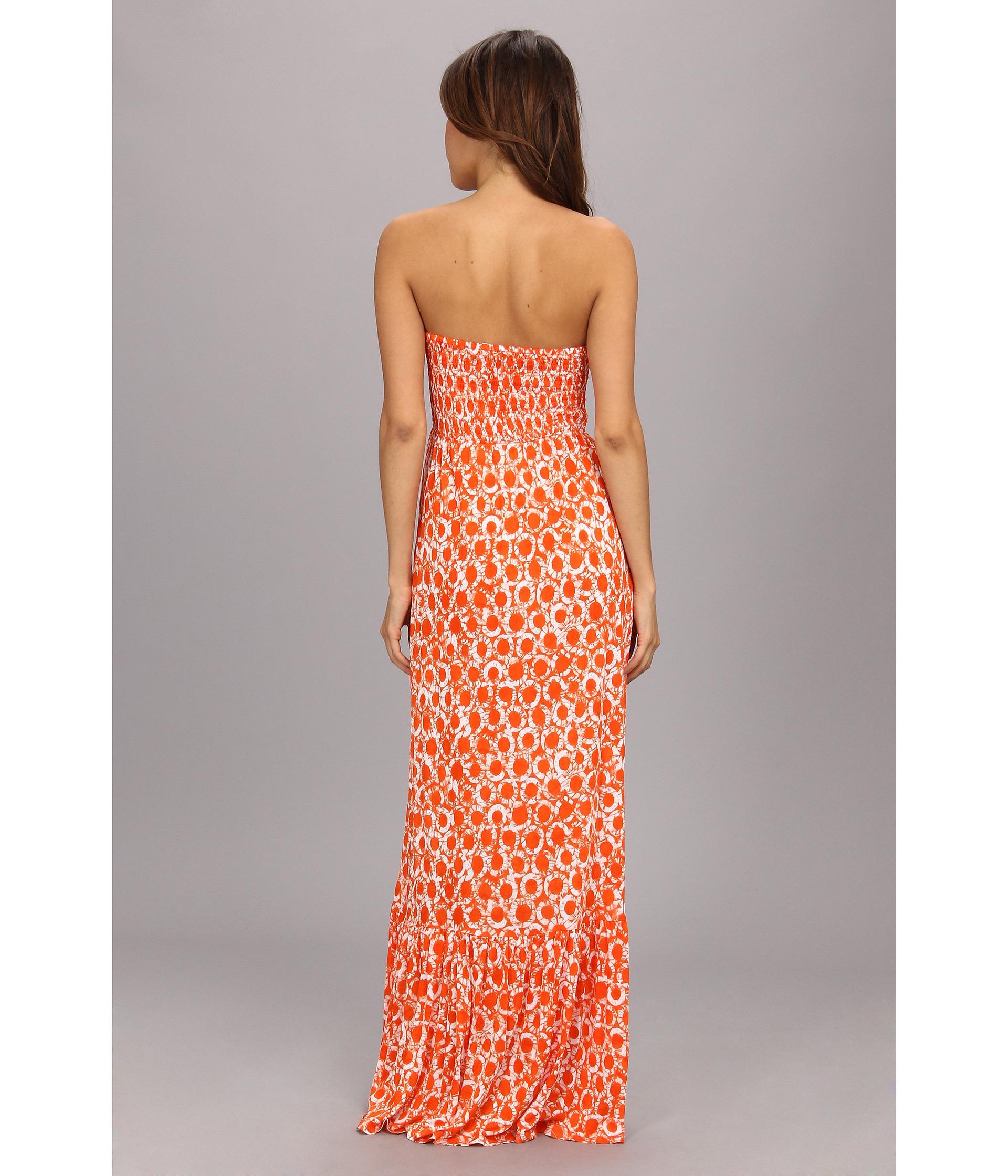 7ff03174cfd5f MICHAEL Michael Kors Tier Smocked Maxi Dress in Orange - Lyst
