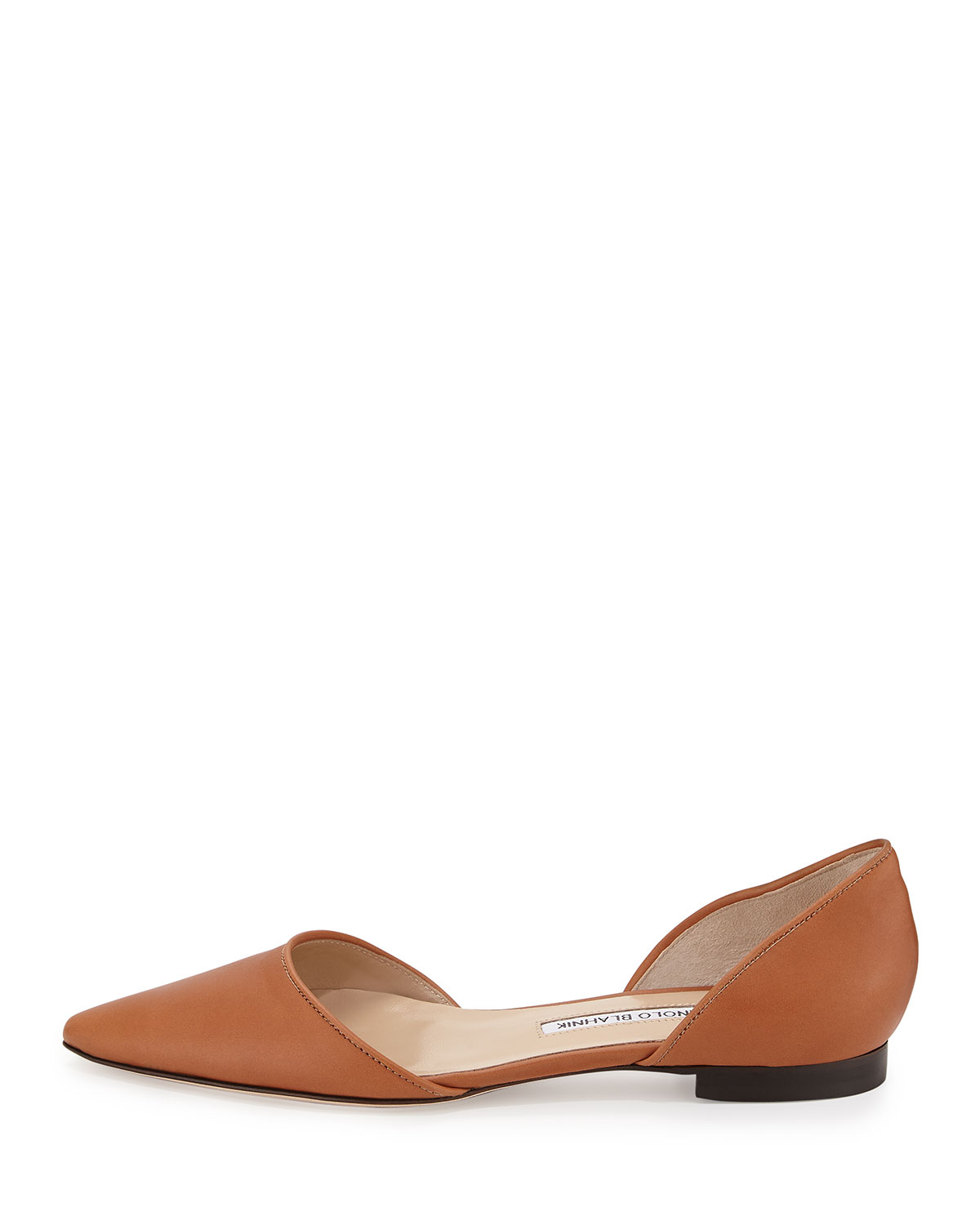 Lyst Manolo Blahnik Soussaba Leather D Orsay Flats In Brown