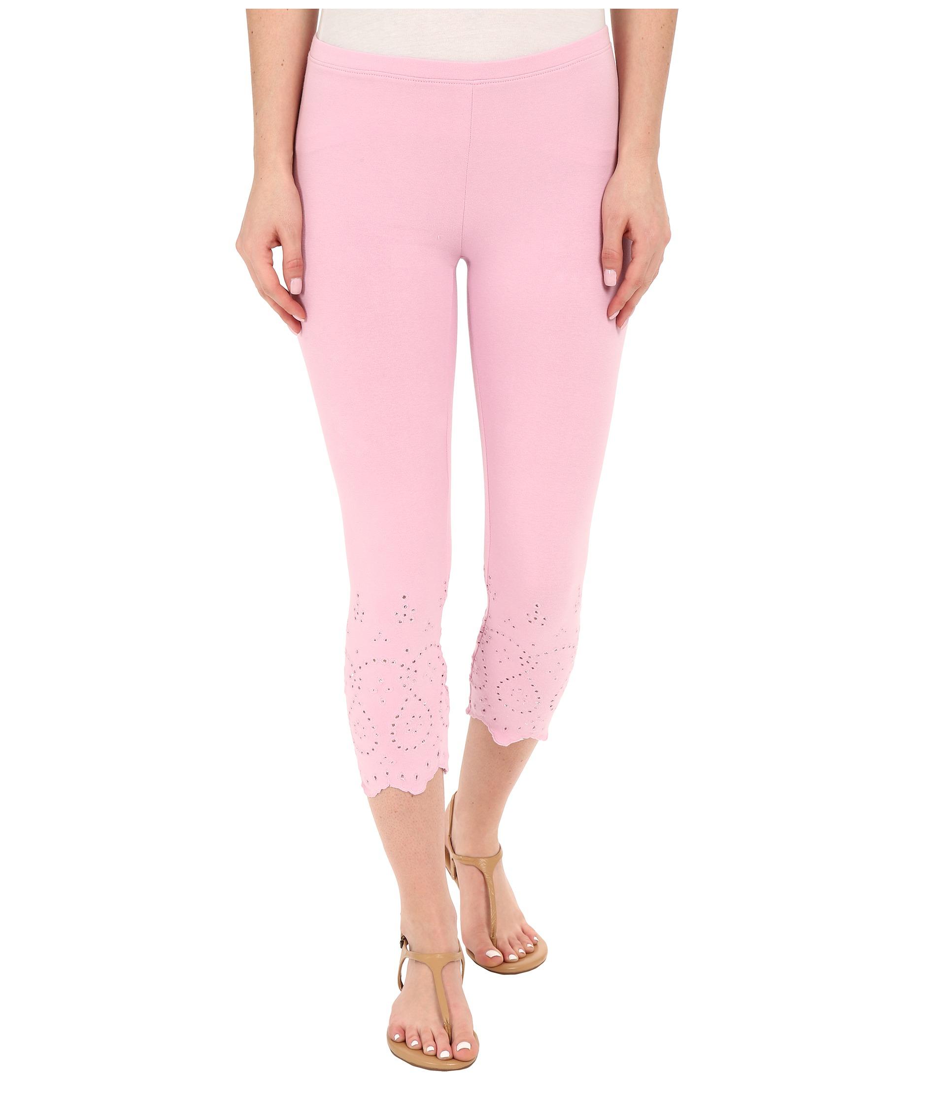 af289a4e7288 Lyst - Hue Eyelet Trim Cotton Capris in Pink