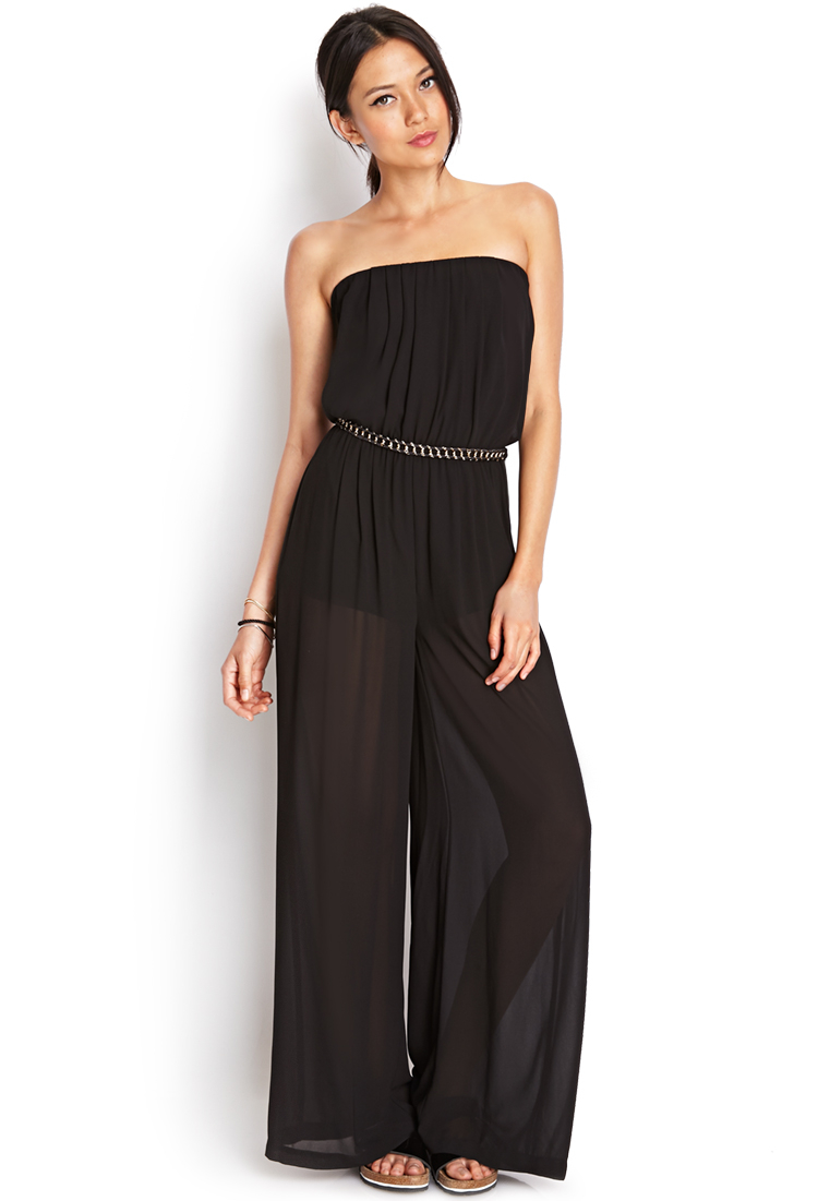 Lyst forever 21 sleek wide leg jumpsuit in black for Thigh jewelry forever 21