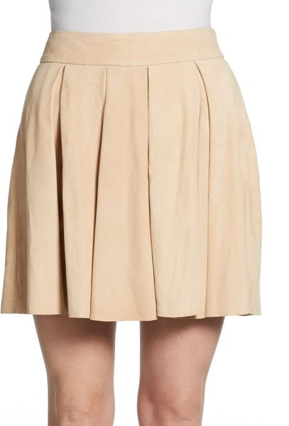 milo suede pleated skirt in pink light
