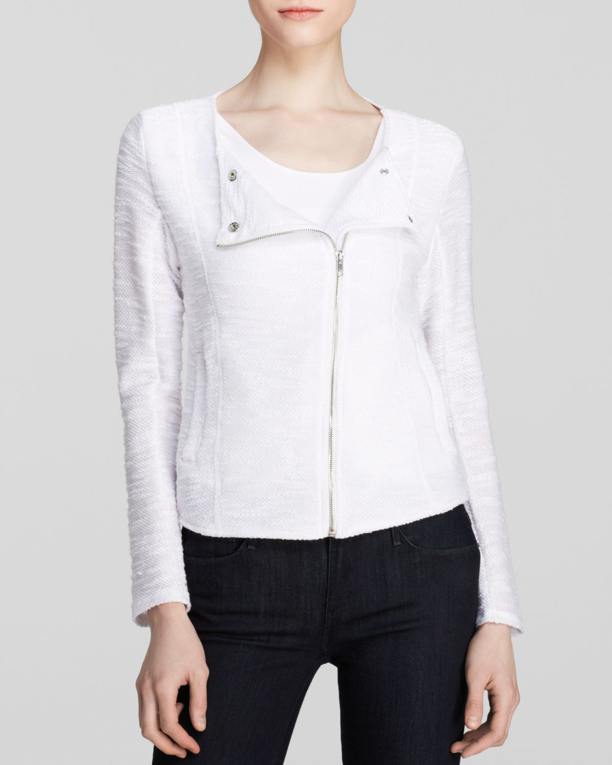 Kut From The Kloth Knit Moto Jacket In White Lyst